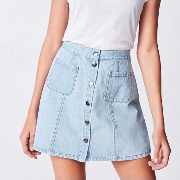 Bdg Skirts Light Blue Button Up Jean Skirt Poshmark
